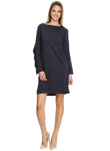 Limon Company Kol Fırfır Detaylı Kadın Mini Elbise Lacivert
